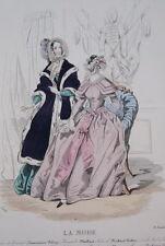 GRAVURE COULEURS LA MODE 1842-OLD FASHION PRINT XIXe SIECLE COSTUME MD85