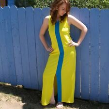 Vtg 80s 90s Neon Color Block Long Column Dress Body Con Yellow Blue Grace Jones
