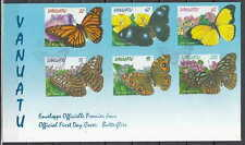 Vanuatu, Scott cat. 721-726. Butterflies issue on a First day cover.