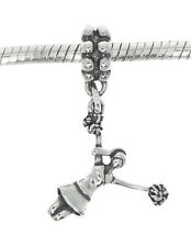 SILVER DANGLE EUROPEAN STYLE 3D JUMPING CHEERLEADER with POM POM BEAD CHARM
