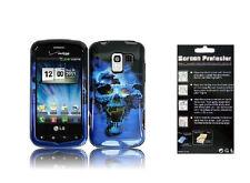 LCD Guard + Blue Skull Case for LG Optimus Zip L75C VS700 Optimus LS700 / Q L55C