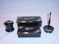 1919-33 British EBONY & Sterling Silver Boxes / Vanity Set of 4