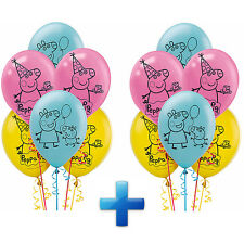 """NEW Peppa Pig 12"""" Latex Balloons~Birthday Decoration Party Favor Supplies ~ 12ct"""