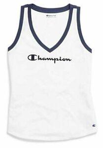 NEW Champion Women's Heritage V-Neck Ringer Tank Top White Size XS