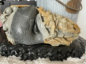 Art Craftsman Carved Genuine Color Marble and Wooden Stand