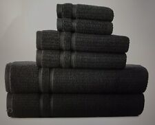 MONOGRAMMED 6 PCS. BLACK TOWELS SET - FROM THE LIZ CLAYBORN COLLECTION.