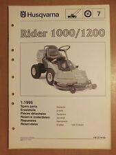 Ersatzteilliste HUSQVARNA Rider 1000 1200 parts list 1995 Rasentraktor Mäher