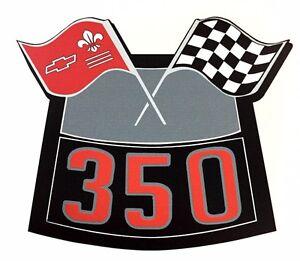 350 Flags Chrome Air Cleaner Decal Chevy Camaro Chevelle Nova Truck Caprice