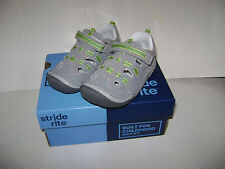 NIB Stride Rite Reggie Boys Sneakers Shoes Sandals size 6 M Grey Lime Leather