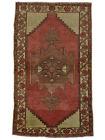 Vintage Turkish Konya Rug, 4'x7', Red/Ivory, Hand-Knotted Wool Pile