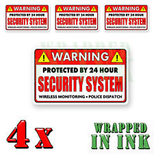 Video Surveillance Security Stickers Warning 24 hour RED REC. Decal 4 PACK