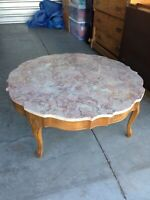 MID-CENTURY MODERN French Provincial Maple Marble Top Coffee Table Cabriole Legs