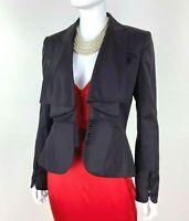 Zac Posen New 10 US 46 IT M Purple Plum Wool Jacket Coat Silk Lining Runway Auth