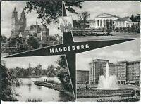 Ansichtskarte Magdeburg - See, Brunnen, Dom, Motivkarte - schwarz/weiß