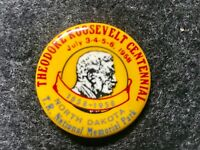 Theodore Teddy Roosevelt Centennial 1858 1958 National Park Pinback Pin Button
