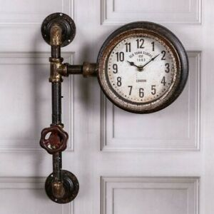 VINTAGE/PERIOD/INDUSTRIAL/STEAMPUNK/RUSTIC PIPE & VALVE EFFECT WALL CLOCK