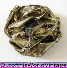 Vtg 80s Hair Bow GOLD SHINY RUFFLED ROSE BARRETTE clip GLAM ROCK 1980s PARTY