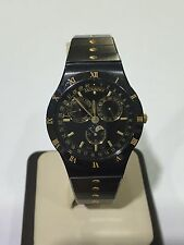 Movado 80-84-860 AG Triple Date Moon Phase Black & Gold Tone Watch