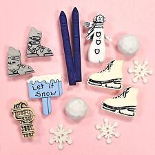 Bolas De Nieve Botones Galore Festival de Invierno-Patines de Navidad de Esquí Navidad Vestido para arriba