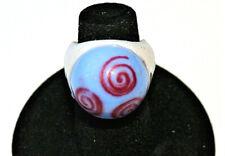 Rare Vending Machine Prize Plastic Hippie Hypno Swirl Blue Ring 1970s NOS New