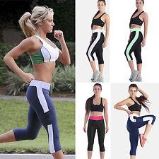 Womens Sports Cropped Pants 3/4 Capri Leggings Running Yoga Athleisure Trousers