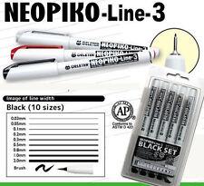 Deleter Neopiko-Line-3 Black 10 Pen Set Professional Art Supplies Manga NEW