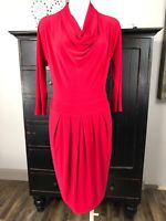 joseph ribkoff Womens 6 Red Draped Neck 3/4 Sleeve Stretch Jersey Sheath Dress H