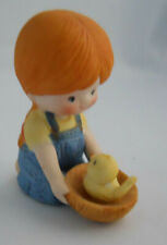 Vintage 1981 Country Cousin Katy w/ Chick & Nest Enesco Porcelain Figurine Katie