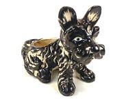 Vtg RARE 1930s Japanese Blk Figural Terrier Scottie Dog Planter Vase Pin Cushion