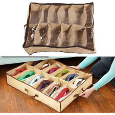 12 Pairs Shoes Storage Organizer Holder Container Under Bed Closet Box Bag Camel
