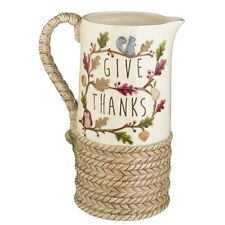 464548 Woodland Harvest Give Thanks Large Water Pitcher Owl Squirrel Cabin Lodge