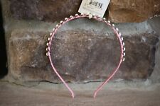 RIVIERA METAL HEADBAND COVERED IN PINK SILK CLOTH WITH WHITE GEMS SILVER ACCENT