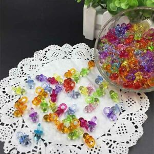50X  Mini Acrylic Pacifier Baby Shower Favors Party Decoration Mix Color Clear