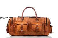 """23"""" Large Men's Genuine Leather Travel Duffel Weekender Vintage Luggage Bag"""