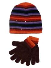 Faded Glory Girls Pink & Purple Stripes Sequin Hat & Gloves Beanie Set