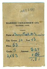 1947 Barrie Creamery Ontario Dairy Payment Envelope Canadian Milk Bottle Related
