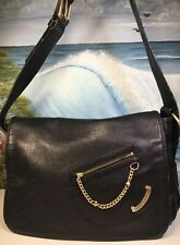 JUICY COUTURE Black Genuine Leather Shoulder Bag Gold Chain Hearts Hardware