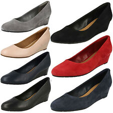 LADIES CLARKS LEATHER SUEDE SMART WEDGE FORMAL SLIP ON SHOES SIZE VENDRA BLOOM