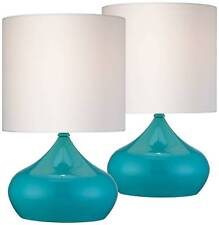 """Mid Century Modern Accent Table Lamps 14 3/4"""" Set of 2 Teal Blue for Bedroom"""