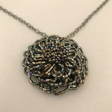 """Bronze Floral Seed Beed Floral Pendant Necklace,  Bronze Bezel And 18"""" Chain"""