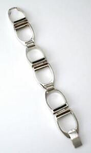 Solid silver enamel modernist stirrup link bracelet 1970s equestrian