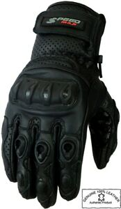 MENS SHORT PERFORATED VENTED KNUCKLE SUMMER MOTORBIKE MOTORCYCLE LEATHER GLOVES