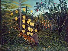 Peinture henri rousseau combat d'un tigre et un buffle art print poster HP2335