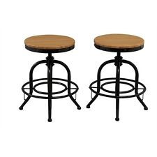 Btexpert Solid Pair Industrial Counter Height Bar Stool Adjustable Natural Bambo