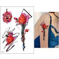 Temporäres Tattoo Rose Blume Design Klebetattoo Körperkunt