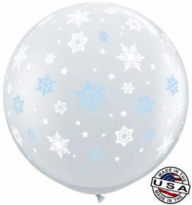 "3 ft HUGE 36"" Clear Snowflake Qualatex Latex Balloon Decoration Winter Blue"