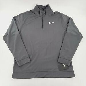 Nike Dri Fit Quarter-Zip Fleece Pullover Sweatshirt DO7002-060 Gray Mens XL NWT