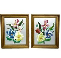 Floral Framed Paintings Pictures Silver Background Vintage Art Mid Century Boho