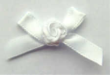 10 RIBBON BOWS with FLOWER  ( White ).