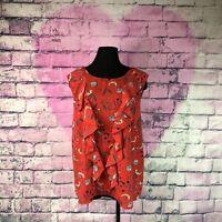 Renee C Stitch Fix Blouse 3x  Summer Shirt Floral Sleeveless Ruffled  Plus Size
